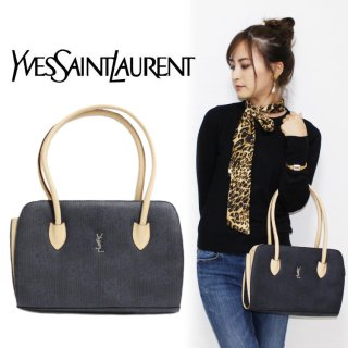 <img class='new_mark_img1' src='https://img.shop-pro.jp/img/new/icons14.gif' style='border:none;display:inline;margin:0px;padding:0px;width:auto;' />YSL イヴサンローラン ヴィンテージ<br>バイカラー総柄ロゴハンドバッグ