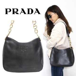 <img class='new_mark_img1' src='https://img.shop-pro.jp/img/new/icons14.gif' style='border:none;display:inline;margin:0px;padding:0px;width:auto;' />PRADA プラダ ヴィンテージ<br>ロゴレザーチェーンワンショルダーバッグ