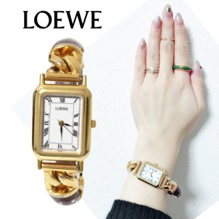 LOEWE ロエベ ヴィンテージ<br>チェーン×レザースクエアQZ腕時計