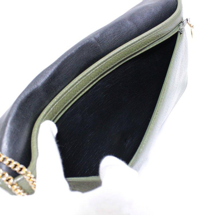 Dior ディオール ヴィンテージ<br>バイカラーロゴレザーチェーンバッグ カーキ