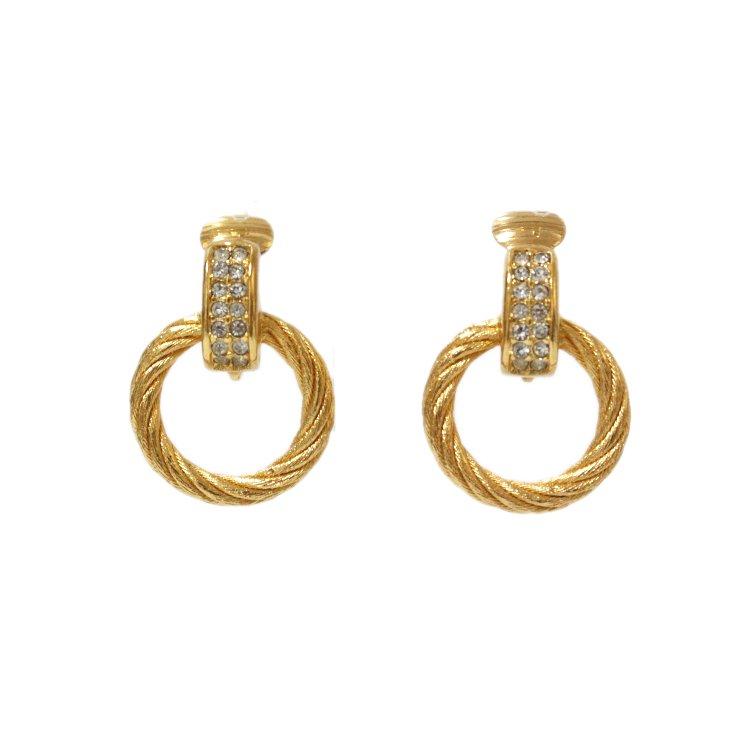 Dior ディオール ヴィンテージ<br>ラインストーン×フープイヤリング