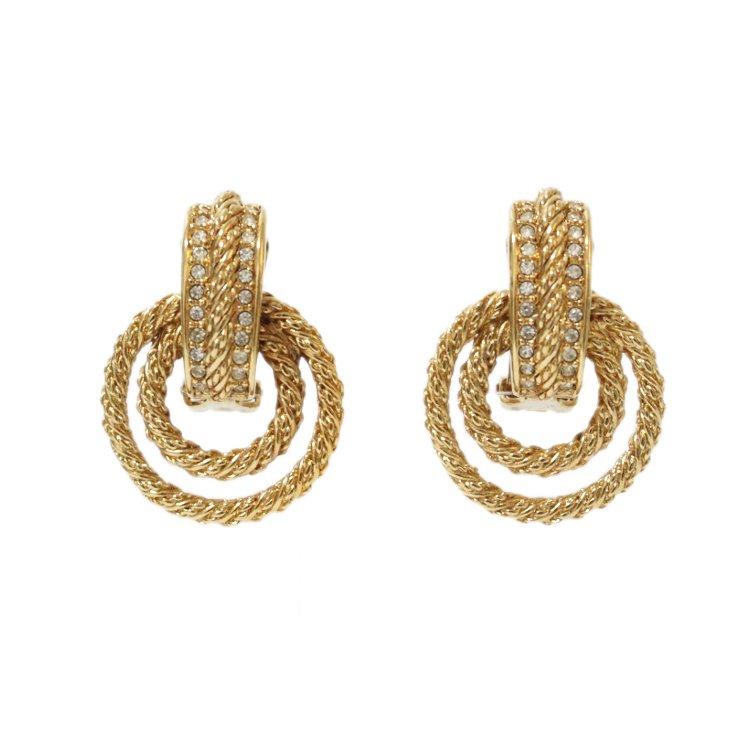 Dior ディオール ヴィンテージ<br>ラインストーン2連フープイヤリング