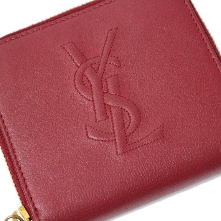 YSL イヴサンローラン ヴィンテージ<br>ロゴレザーラウンドジップ二つ折り財布