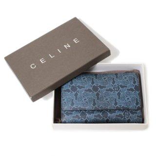 CELINE セリーヌ ヴィンテージ<br>サルキー三つ折財布 ネイビー