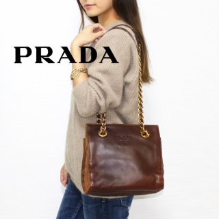 <img class='new_mark_img1' src='https://img.shop-pro.jp/img/new/icons14.gif' style='border:none;display:inline;margin:0px;padding:0px;width:auto;' />PRADA プラダ ヴィンテージ<br>レザー×ナイロンチェーンショルダーバッグ ブラウン