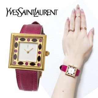 <img class='new_mark_img1' src='https://img.shop-pro.jp/img/new/icons14.gif' style='border:none;display:inline;margin:0px;padding:0px;width:auto;' />YSL イヴサンローラン ヴィンテージ<br>スクエアラインストーンQZ腕時計