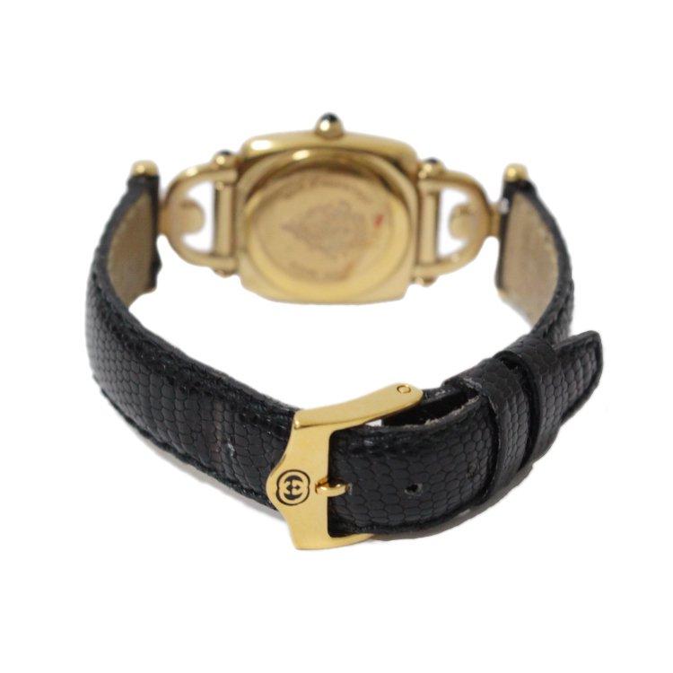 GUCCI グッチ ヴィンテージ<br>ホースビット レザーベルトQZ腕時計 6300L ブラック