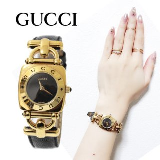 <img class='new_mark_img1' src='https://img.shop-pro.jp/img/new/icons14.gif' style='border:none;display:inline;margin:0px;padding:0px;width:auto;' />GUCCI グッチ ヴィンテージ<br>ホースビット レザーベルトQZ腕時計 6300L ブラック