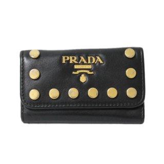 PRADA プラダ ヴィンテージ<br>カーフレザー6連スタッズキーケース