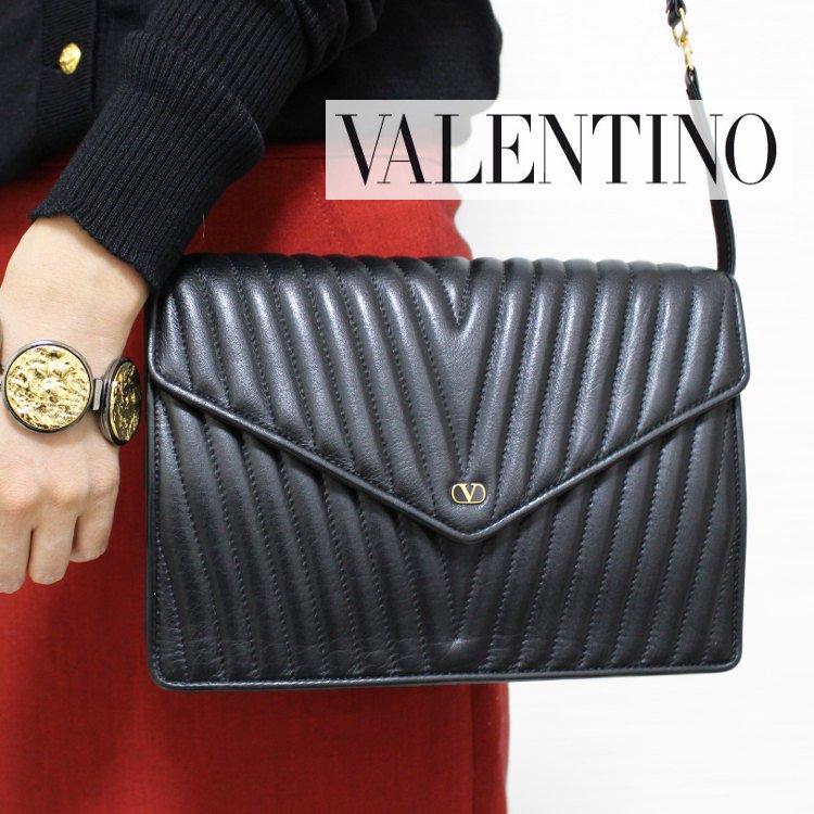 VALENTINO ヴァレンティノ ヴィンテージ<br>2WAY Vステッチレザークラッチショルダーバッグ