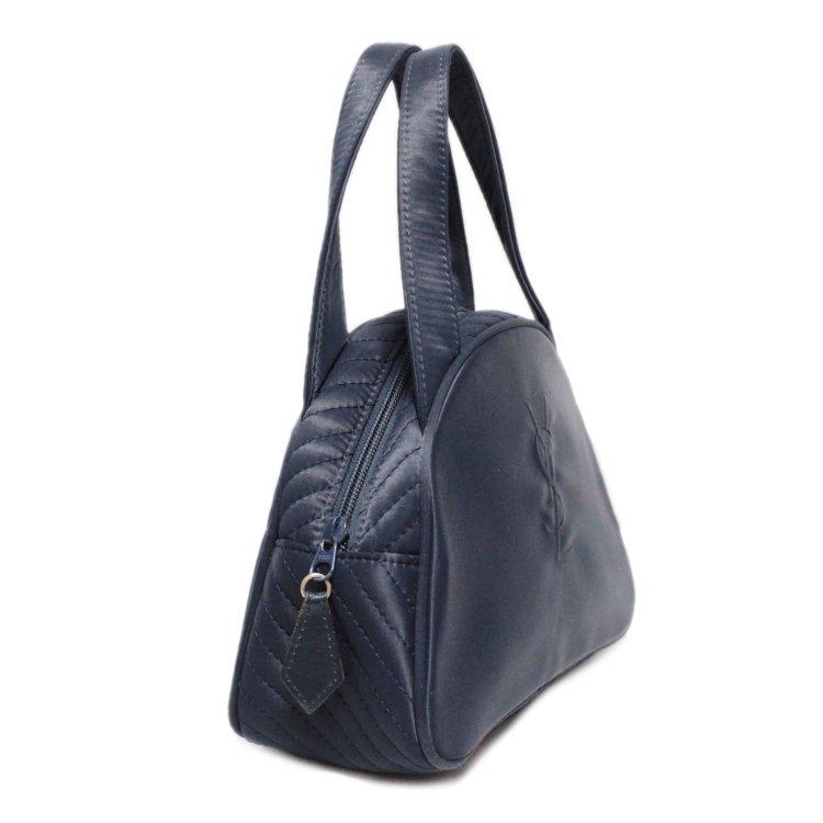 YSL イヴサンローラン ヴィンテージ<br>ロゴ×ナイロンハンドバッグ ネイビー