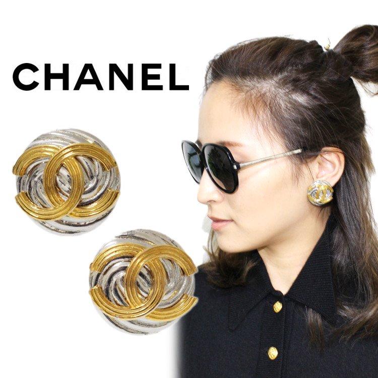 CHANEL シャネル ヴィンテージ<br>コンビカラーココマークイヤリング