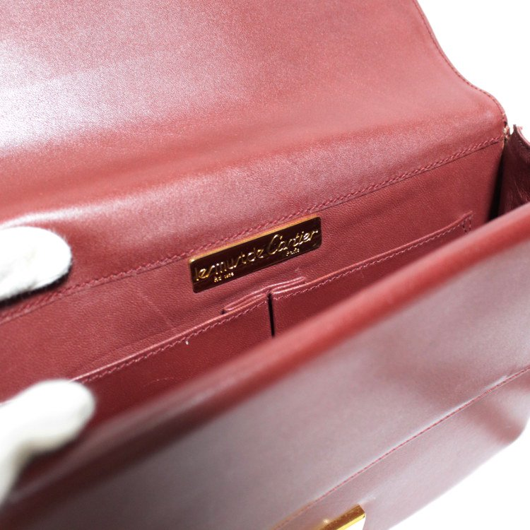 Cartier カルティエ ヴィンテージ<br>マストラインスクエアレザーショルダーバッグ