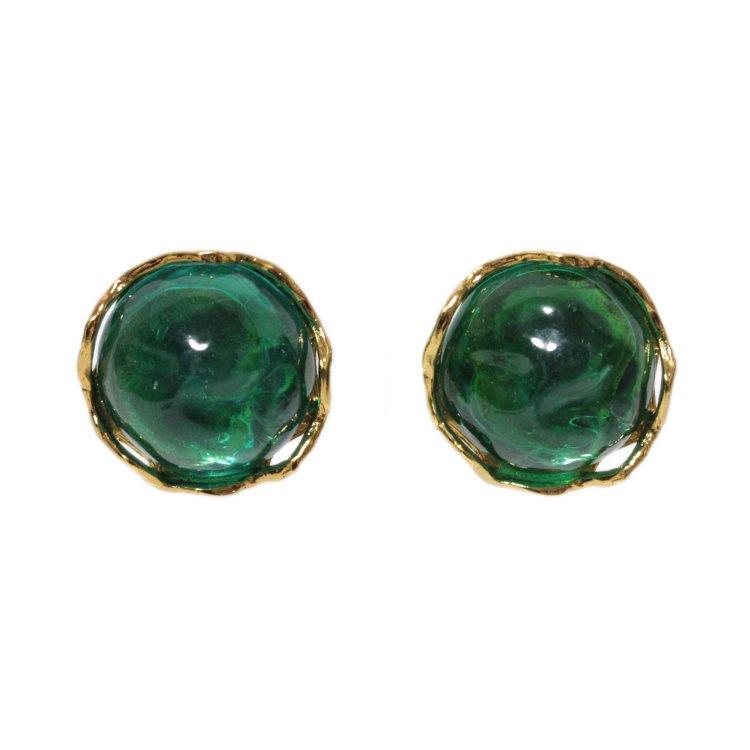 YSL イヴサンローラン ヴィンテージ<br>カラーストーンイヤリング グリーン