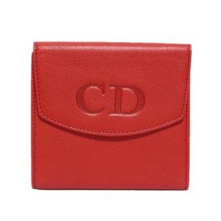 Dior ディオール ヴィンテージ<br>ロゴレザーWホック二つ折り財布 レッド