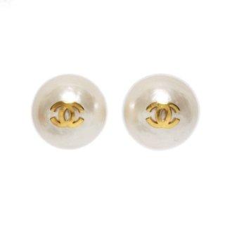 CHANEL シャネル ヴィンテージ<br>ココマーク×フェイクパールイヤリング