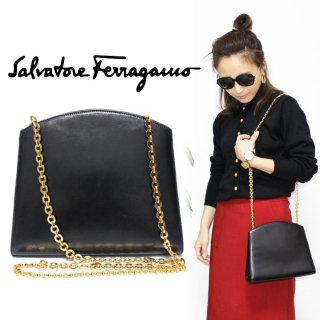 <img class='new_mark_img1' src='https://img.shop-pro.jp/img/new/icons14.gif' style='border:none;display:inline;margin:0px;padding:0px;width:auto;' />Ferragamo フェラガモ ヴィンテージ<br>カーフレザーチェーンショルダーバッグ