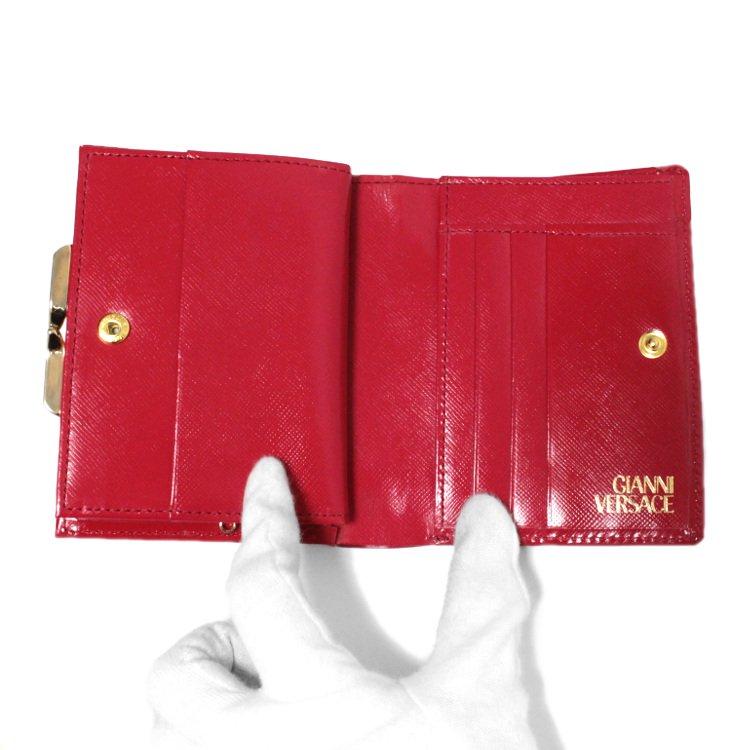 VERSACE ヴェルサーチ ヴィンテージ<br>サンバーストがま口二つ折り財布 レッド