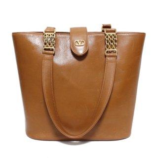 VALENTINO ヴァレンティノ ヴィンテージ<br>チェーンレザーハンドバッグ キャメル
