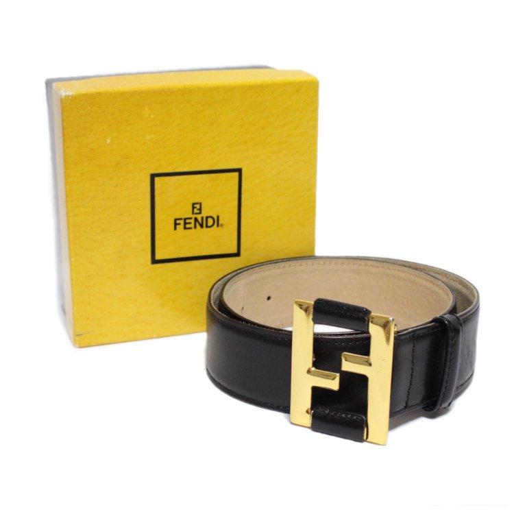 FENDI フェンディ ヴィンテージ<br>ロゴレザーベルト