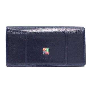 GIVENCHY ジバンシー ヴィンテージ<br>ロゴレザーがまぐち長財布 ネイビー