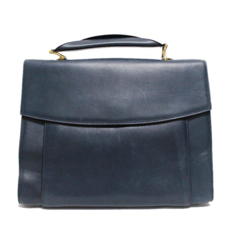 CELINE セリーヌ ヴィンテージ<br>レザーハンドバッグ ネイビー