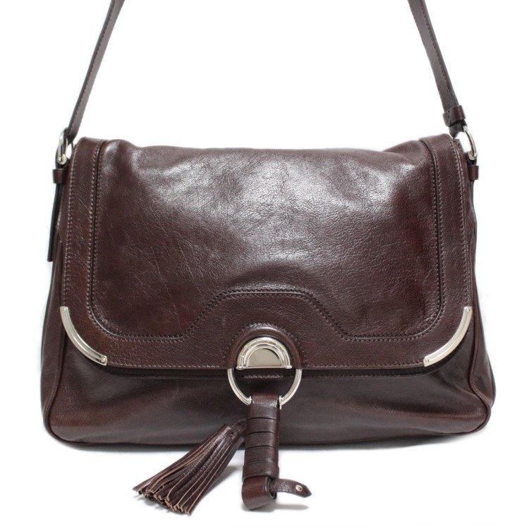 CELINE セリーヌ ヴィンテージ<br>フリンジタッセル付レザーショルダーバッグ ブラウン