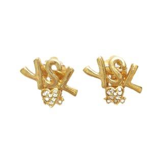 YSL イヴサンローラン ヴィンテージ<br>ロゴ×ハートモチーフイヤリング