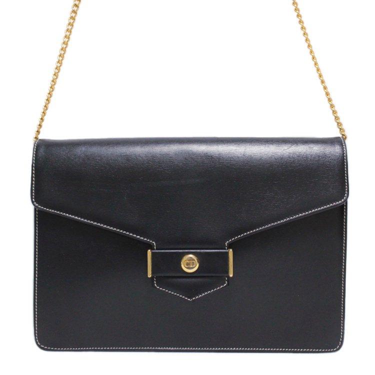 Dior ディオール ヴィンテージ<br>ロゴ金具レザーチェーンショルダーバッグ