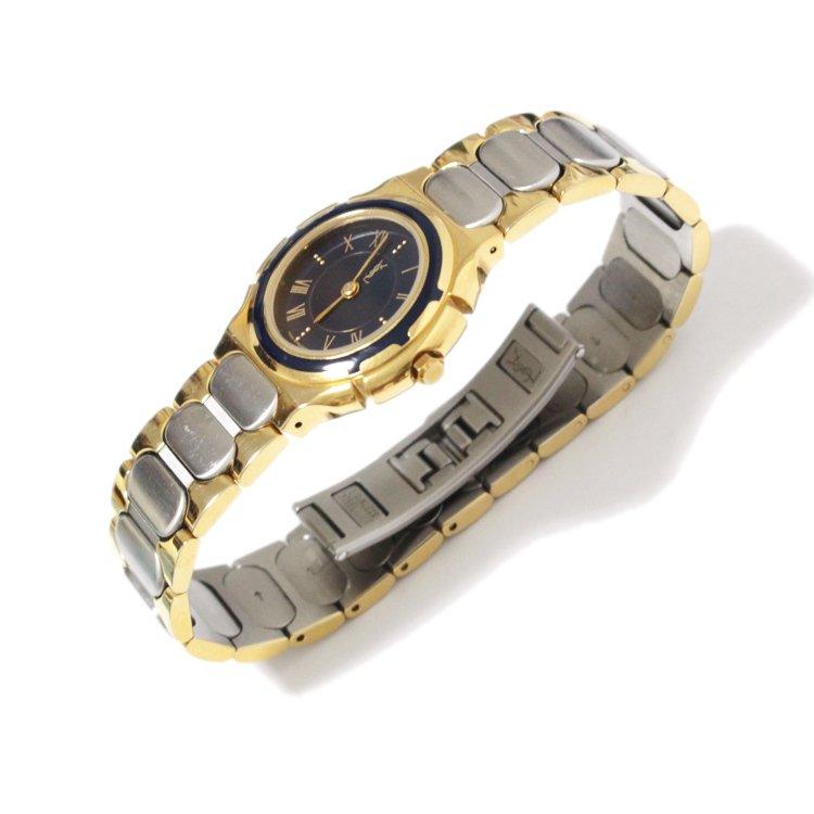 YSL イヴサンローラン ヴィンテージ<br>コンビカラーQZ腕時計 ネイビー