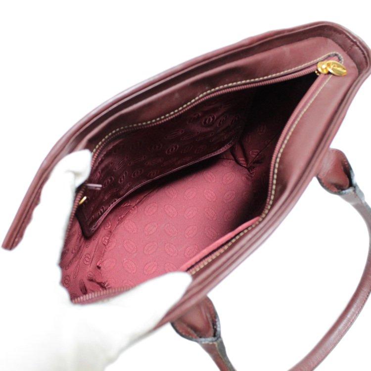 Cartier カルティエ ヴィンテージ<br>マストラインレザーハンドバッグ バケツ型