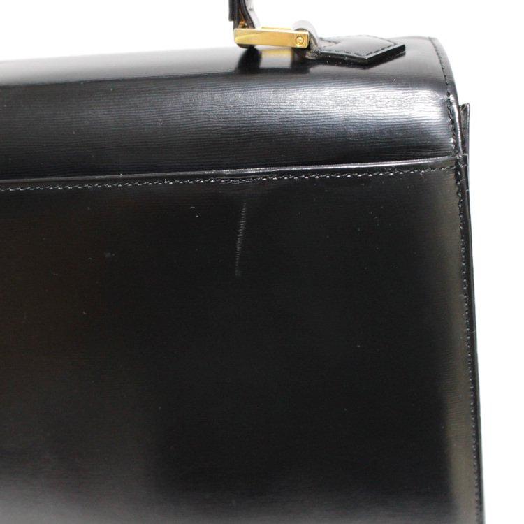 YSL イヴサンローラン ヴィンテージ<br>ロゴ型押しケリー型レザーハンドバッグ