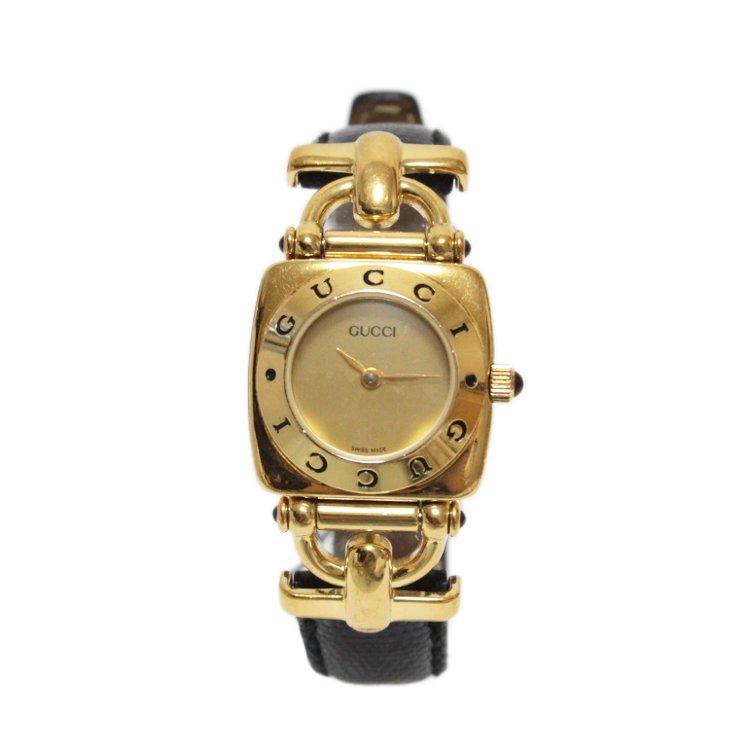 brand new d6463 d187e GUCCI グッチ ヴィンテージホースビットレザーベルトQZ腕時計 6300L ブラック - ヴィンテージブランドの通販ショップRiLish