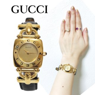 <img class='new_mark_img1' src='https://img.shop-pro.jp/img/new/icons14.gif' style='border:none;display:inline;margin:0px;padding:0px;width:auto;' />GUCCI グッチ ヴィンテージ<br>ホースビットレザーベルトQZ腕時計 6300L ブラック