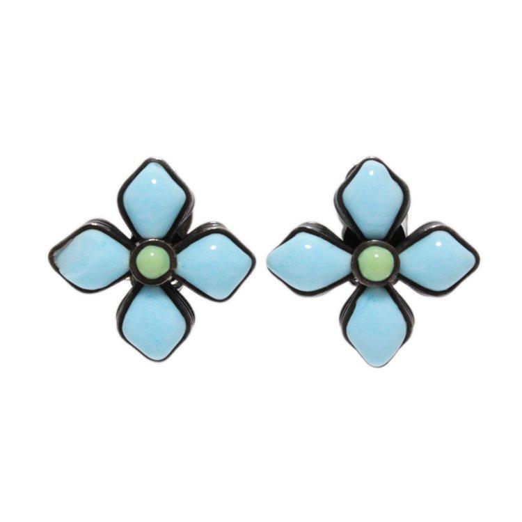 CHANEL シャネル ヴィンテージ<br>カラーストーンフラワーモチーフイヤリング