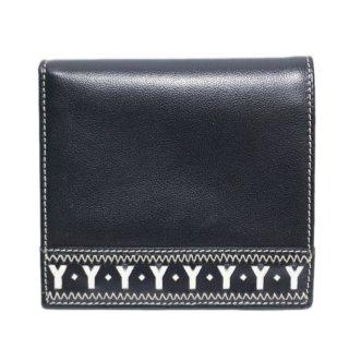 YSL イヴサンローラン ヴィンテージ<br>Yカットアウトレザー二つ折り財布 ネイビー