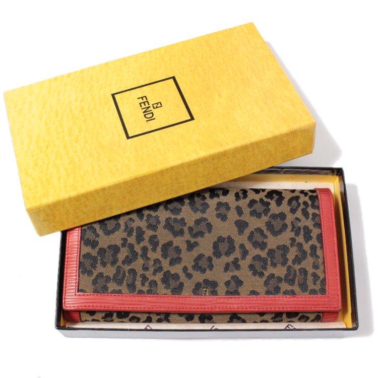 FENDI フェンディ ヴィンテージ<br>レオパードキャンパス×レザー長財布
