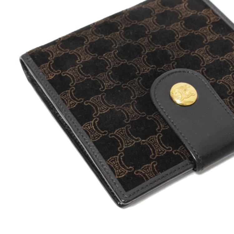 CELINE セリーヌ ヴィンテージ<br>マカダム柄スウェード二つ折り財布 ブラック