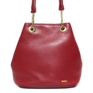 BALLY バリー ヴィンテージ<br>レザーチェーンショルダーバッグ レッド