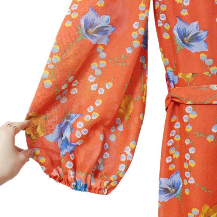 RiLish's SELECT ヴィンテージ<br>シースルーフラワーロングドレスワンピース オレンジ