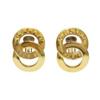 CELINE セリーヌ ヴィンテージ<br>2連サークルロゴイヤリング