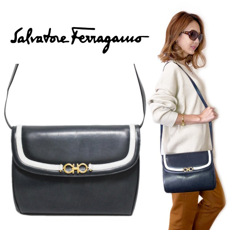 <img class='new_mark_img1' src='https://img.shop-pro.jp/img/new/icons14.gif' style='border:none;display:inline;margin:0px;padding:0px;width:auto;' />Ferragamo フェラガモ ヴィンテージ<br>ガンチーニバイカラーショルダーバッグ
