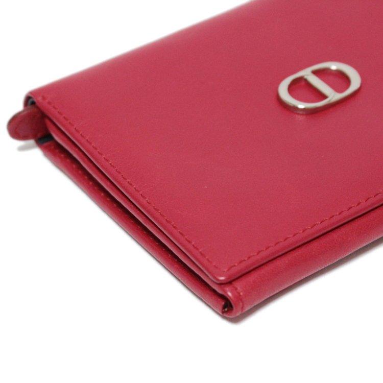 Dior ディオール ヴィンテージ<br>ロゴレザー二つ折り財布 レッド