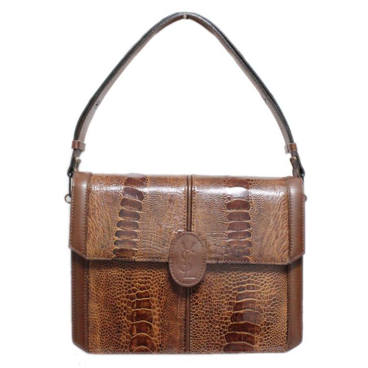YSL イヴサンローラン ヴィンテージ<br>リザード型押しロゴレザーショルダーバッグ