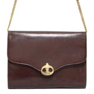CELINE セリーヌ ヴィンテージ<br>ブラゾンレザーチェーンショルダーバッグ ブラウン