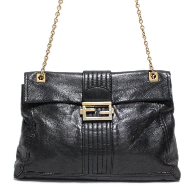 FENDI フェンディ ヴィンテージ<br>ロゴ金具レザーチェーンショルダーバッグ