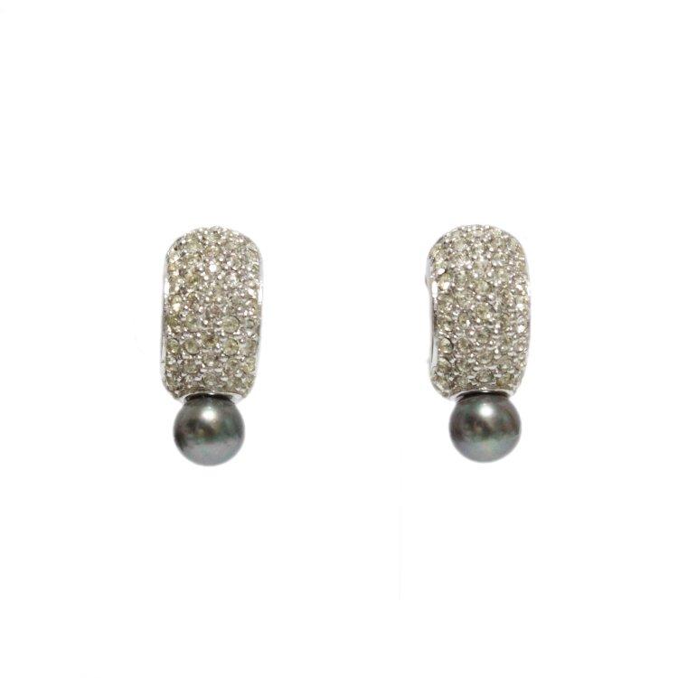 Dior ディオール ヴィンテージ<br>ラインストーン×パールイヤリング