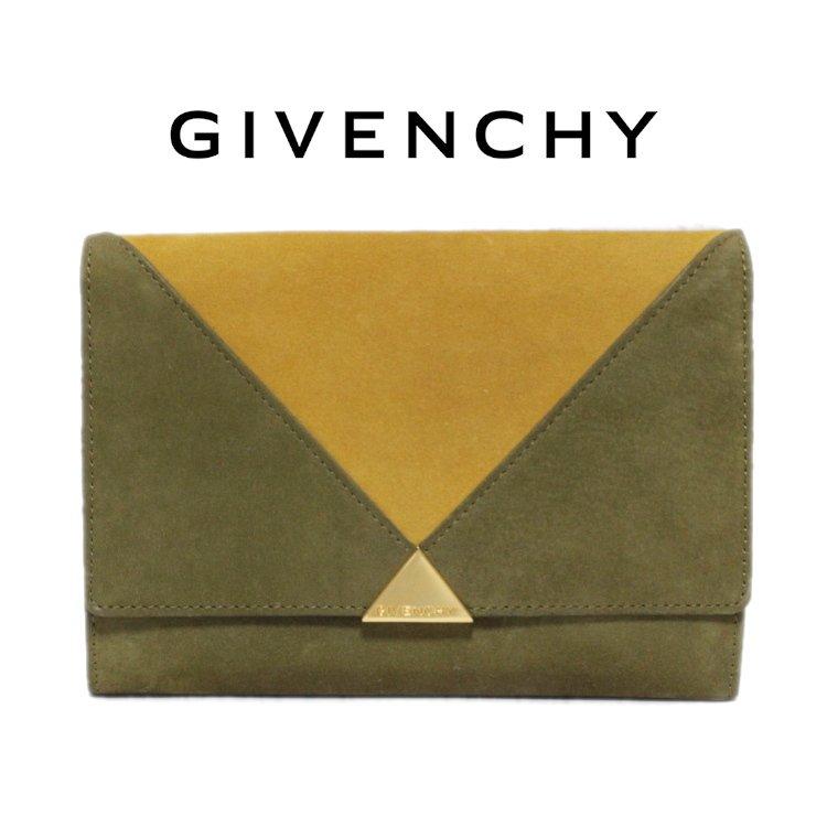 GIVENCHY ジバンシー ヴィンテージ<br>バイカラースウェード二つ折り財布