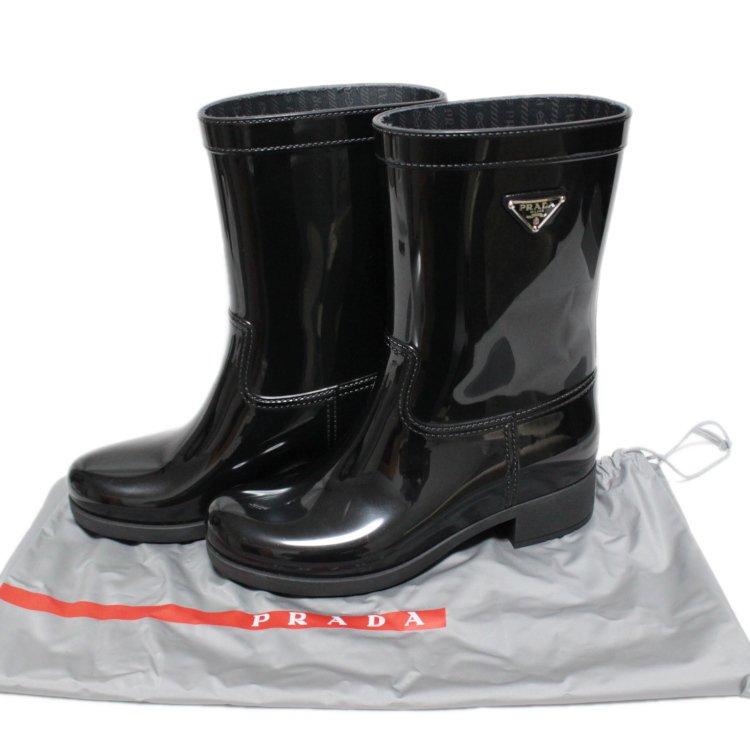 PRADA プラダ ヴィンテージ<br>ロゴプレートレインブーツ ブラック