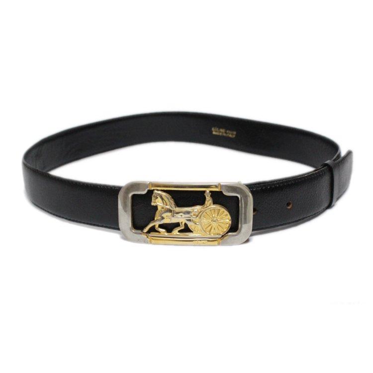 CELINE セリーヌ ヴィンテージ<br>ホースキャリッジレザーベルト